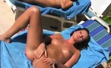 Horny Chick Fingering Her Pussy Outside