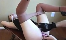 Gagged Slut Wearing Pantyhose Orgasms