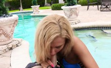 Young petite big-bootied blonde babe Chanel Collins has her