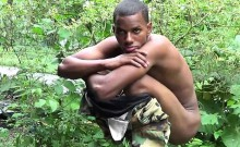 Cock-strong twink soldier by the river