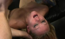 Blonde Flat On Her Back On Sofa Getting Face Hammered