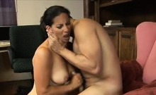 Horny mature secretary enjoys hot sex with a younger guy at the office