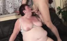 Fat granny rides on a big rod