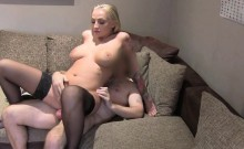 Inked bosy busty blonde banged in casting