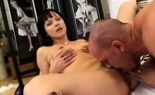 Hot brunette pleases man with strapon