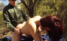 Red hair amateur banged by law officer on the border