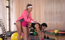 Tiny waist teen gets licked after fitness class