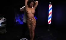Buxom Japanese girl with sexy legs brings her bondage fanta
