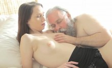 Kissable college girl was seduced and poked by her elderly s