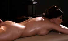 Two sexy women licking each pussies on massage table