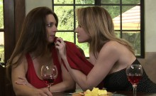 Busty lesbos Angela Sommers and Mindi Mink