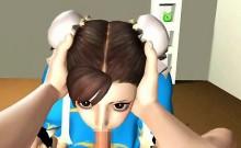 3d Geisha Swallows Cum!