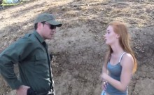 Busty blonde teen banged by border guard outdoors