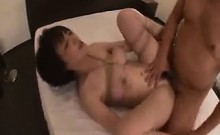 Naughty Japanese wife with big hooters gets tied up and pou