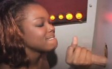 Black Amateur On Her Knees Sucking White Dick At Glory Hole