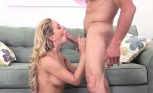 This Blonde Busty Babe Knows Exactly How To Work a Cock