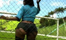 Busty Latina Ts Exposes Big Breasts And Butt On Soccer Field