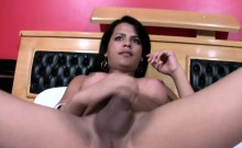 Latina Tranny Likes Her Strawberries With Big Messy Cum Load