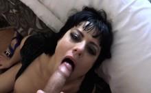 Kinky brunette deepthroated police cock