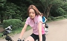 Cute teen asian babes riding bikes get pussy all wet