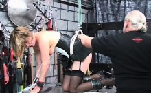 Hot female fucked and stimulated in servitude