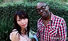 Sweet asian sex siren gets tits sucked by a black stud