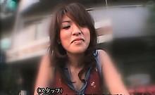 Superb japanese cutie masturbates with dildo on her bike