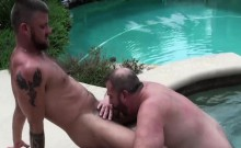 Hot And Fat Bear Gets Anal Raling By The Pool Outdoor