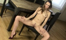 Hot Brunette Rubs Pussy On The Table
