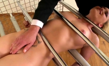 Caged blonde enjoys some hardcore pleasures