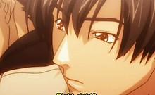 Anime lesbians tribbing and kissing