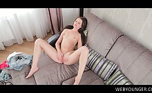 Teen delicate girl masturbating pink muff in the mirror