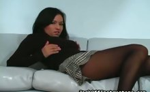 Teasing With Nylon Covered Legs