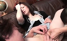 Close-up with Japanese tiny snatch fingered and soaking wet