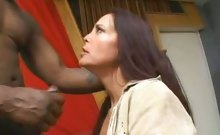 Horny Older Babe Gives Interracial Oral