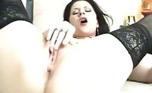 Brunette babe smoking rubbing her pussy