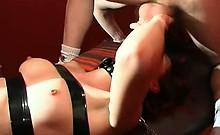 Very strange way to fuck a nasty slut. Watch how she is