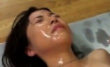 Asian Girl Gets Lots Of Cum On Her Face