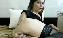 Hot milf stuffs her panties and plays with her pussy