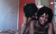 Afro nymph goes slutty with white cock