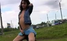 Skinny Girl Flashing Her Tits In Public