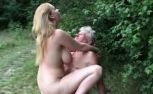 Fleshy big jugged girl blowing horny grandpa