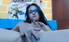 Sweet Nerd Rubbing Her Pussy