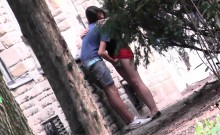 Sultry brunette gets caught having fun with her boyfriend in the park