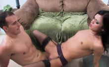 Raven-haired broad gets her wet cunt slammed
