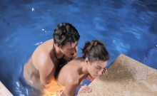 Sexy slut Julia and her boyfriend fuck wildly in the pool