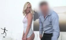 Blonde fucks fake agent for camera record