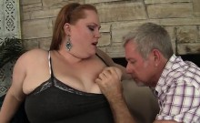 A guy licks fat Julie Ann Mores fleshy pussy and then