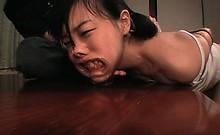 Hardcore ass dildo fucking for brunette teen asian sex slave