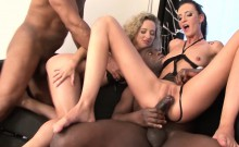 2 Milfs Take turns DP Fucked Black Cocks Get Facial cum